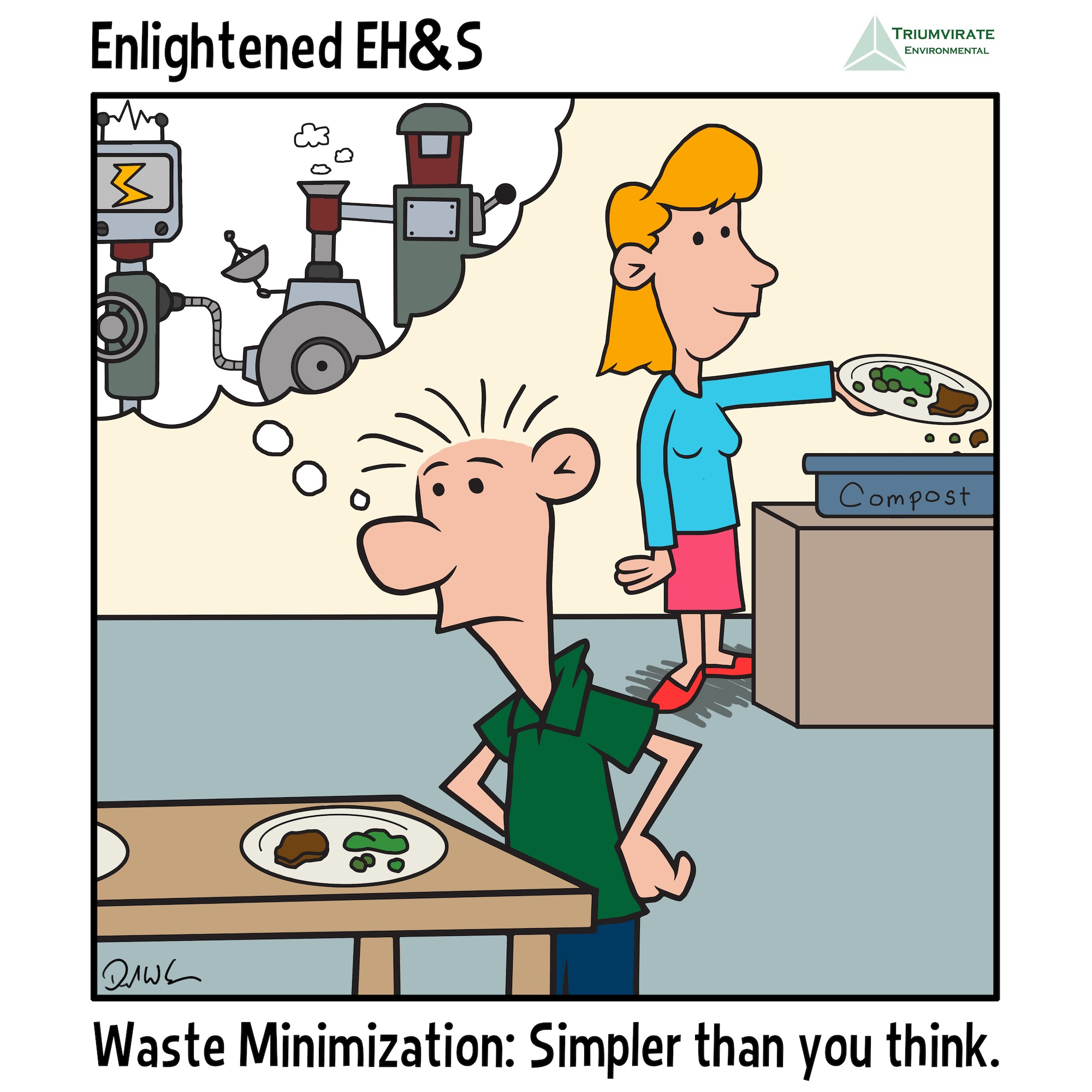 Waste minimization comic strip